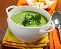 Cream soup. Broccoli cream soup on table Stock Image