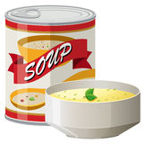 Cream soup in can and bowl. Illustration Stock Image