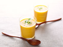 Cream soup of carrot Royalty Free Stock Images
