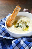 Cream soup with cheese and dill Royalty Free Stock Images