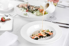 Cream soup with crab meat royalty free stock photos