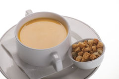 Cream soup with crackers Royalty Free Stock Image