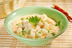Cream soup with croutons Stock Image
