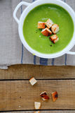 Cream soup with croutons Royalty Free Stock Photos