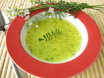 Cream soup with Cuckoo Flower Stock Photography