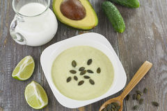 Cream soup of cucumber and avocado Royalty Free Stock Photo