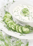 Cream soup with cucumbers Stock Images