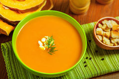Cream soup. Delicious pumpkin soup in bowl Stock Image