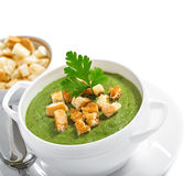 Cream soup with dried crusts Stock Photo