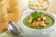 Cream soup with dried crusts Stock Photos