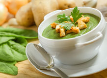 Cream soup with dried crusts Royalty Free Stock Photo