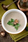 Cream soup from dried mushrooms shiitake with chicken and potatoes. Royalty Free Stock Photos