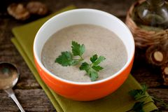 Cream soup from dried mushrooms shiitake with chicken and potatoes. Stock Photos
