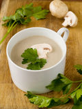 Cream-soup from field mushrooms royalty free stock photo