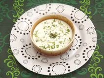 Cream soup with herbs Royalty Free Stock Photo