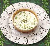 Cream soup with herbs Royalty Free Stock Images