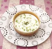 Cream soup with herbs Royalty Free Stock Photography