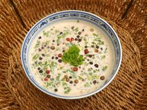 Cream soup with herbs Stock Photo