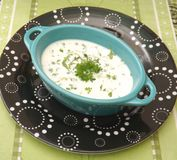 Cream soup with herbs Royalty Free Stock Image