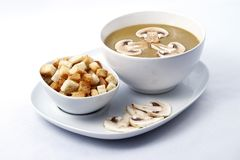 Cream soup with mushrooms. Cream of mushroom soup with dry bread in a plate on white background. Raw available stock photo