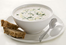 Cream-soup from mushrooms. Wit bread Stock Photos
