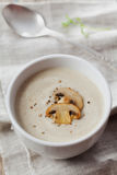 Cream soup with mushrooms champignon and potato in white bowl Stock Images