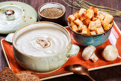 Cream soup with mushrooms, herbs, cream and crackers on plate on dark wooden background. Homemade food. Ingredients on table. Top view Royalty Free Stock Photo