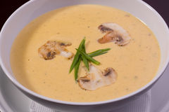 Cream soup with mushrooms and onion Stock Photo