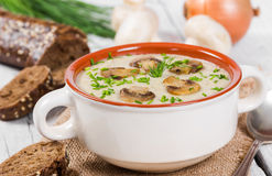Cream soup with mushrooms Stock Photography