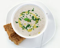 Cream-soup from mushrooms2. Cream-soup from mushrooms with bread Stock Images