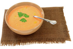 Cream Soup from Orange Cauliflower Stock Images