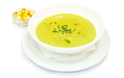 Cream soup with pea Stock Photo
