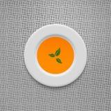 Cream soup in pumpkin design vector background. Stock Image