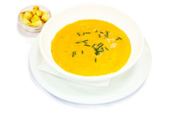 Cream soup with pumpkin Stock Images