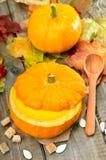 Cream soup in pumpkin Stock Photos