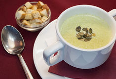 Cream soup with pumpkin Royalty Free Stock Photography