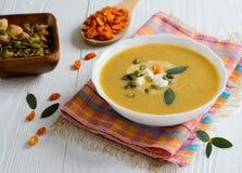 Cream soup with pumpkin sunflower seeds Stock Photo