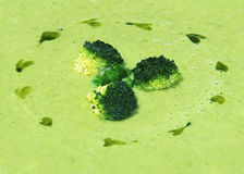Cream soup puree of green peas view from the top. Background. Decorated with broccoli. Fragment of dish Royalty Free Stock Photo