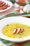Cream soup of red lentil with smoked meat, duck, chicken Stock Images