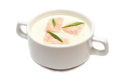 Cream soup with salmon Royalty Free Stock Photography