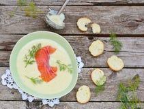Cream soup with salmon Stock Photos
