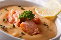 Cream soup with salmon fish macro in a white bowl. horizontal Royalty Free Stock Photography