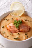 Cream soup with salmon fish macro in a white bowl. Vertical Stock Photography