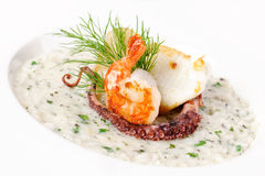 Cream soup with seafood Royalty Free Stock Photo