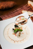 Cream soup with seafoods. Close-up Royalty Free Stock Photo