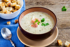 Cream soup with shrimps Royalty Free Stock Photos