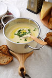Cream soup in small saucepan Royalty Free Stock Photography