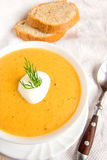 Cream soup with sour cream and dill Royalty Free Stock Photo