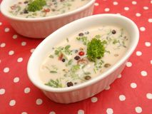 Cream soup with spices Stock Photo