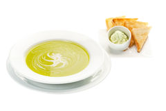 Cream Soup with Spinach Stock Image